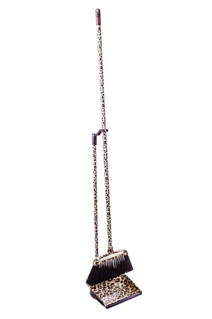 Broom and dustpan kit with leopard texture isolated over a white background photo