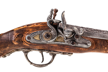 blunderbuss: an old blunderbuss isolated over a white background