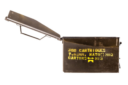 surplus: a military ammo box isolated over a white background