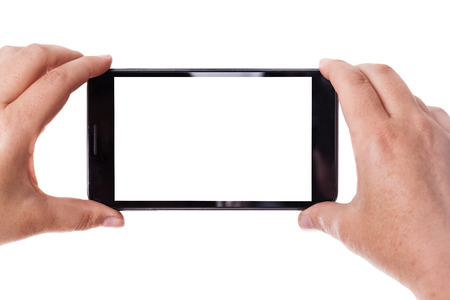 taking video: human hands taking photo with a mobile phone isolated over a white background