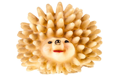 rubbery: a hedgehog shaped squeaky toy isolated over a pure white background Stock Photo