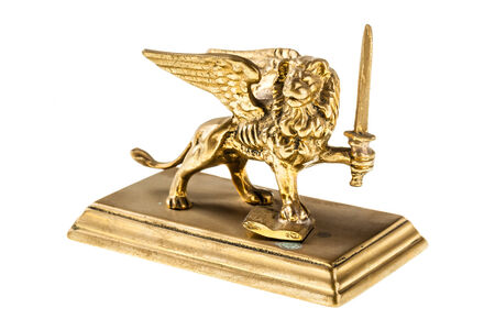 Reproduction of the winged lion in Venice isolated over a pure white background photo