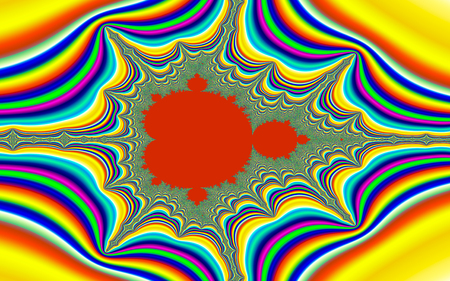 chaos theory: Digital visualization of a colourful fractal called Mandelbrot set. Mathematical Background Stock Photo