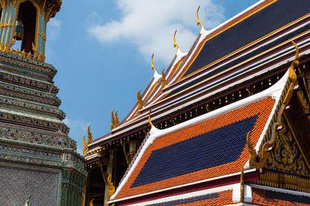 Wat Phra Kaew: Roof detail in Wat Phra Kaew, Temple of the Emerald Buddha, Bangkok, Thailand. Stock Photo