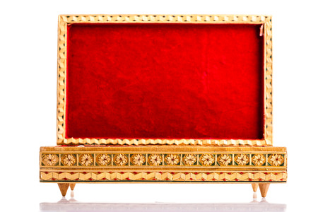 distinguishing: a beautiful bulgarian wooden inlaid box isolated over a white background Stock Photo