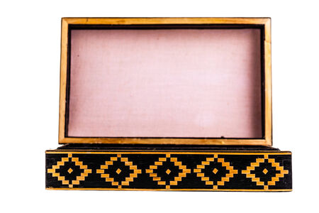 laquered: a beautiful decorated ancient bulgarian wooden box isolated over a white background