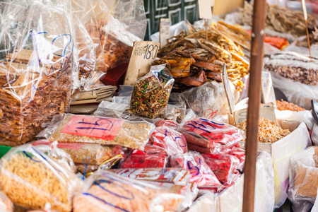 dried seafood on sale in a thai street market in Bangkok, Thailand photo