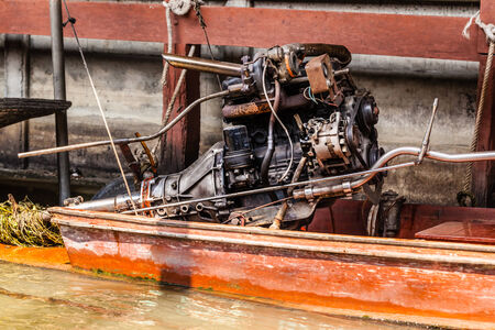 long tailed boat: Thai traditional longtail boat big diesel engine details