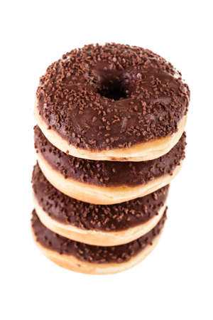 a tower of delicious donuts isolated over a white background photo