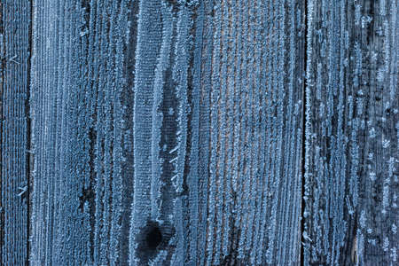 blue texture: background texture of wooden planks or wooden wall covered with hoarfrost ice crystal in winter
