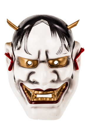 The Hannya is a japanese mask used in Noh theater, representing a jealous female demon or serpent Banco de Imagens