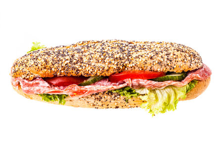 multi grain sandwich: a delicious salami sub sandwich isolated over a white background Stock Photo