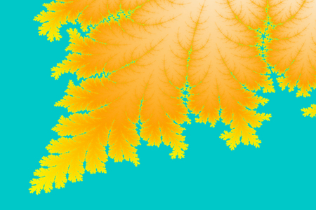 newage: a digitally generated colorful fractal background based on the mandelbrot set that resembles a leaf Stock Photo