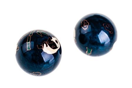 harmonization: Chinese Baoding balls or medicine balls isolated over a white background Stock Photo