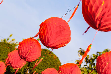 A lot of hanged red chinese paper lantern in bangkok, thailand photo