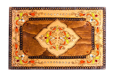 inlaid: a beautiful bulgarian wooden inlaid box isolated over a white background Stock Photo