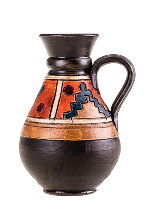 indian artifacts: a small ceramic mexican pot isolated over a white background Stock Photo
