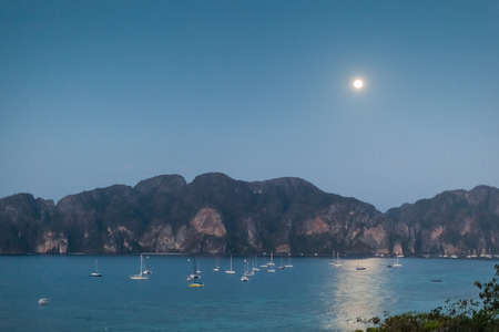 a view of the tropical phi phi thai island by night photo