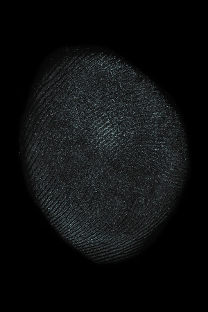 Macro shot of a human thumb fingerprint isolated over a black background