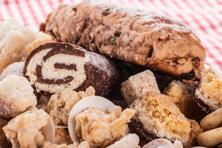 a heap of different homemade christmas pastry and cookies photo