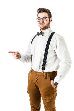 jazzbow: a handsome young man or hipster with braces and a bow tie isolated over a white background