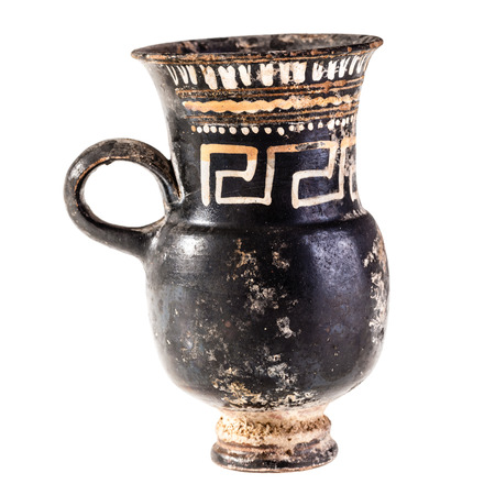 daunia: Apulian black pottery ancient canosan pitcher isolated over a white background Stock Photo