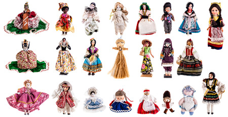 girl doll: a beautiful vintage dolls collection isolated over a white background Stock Photo