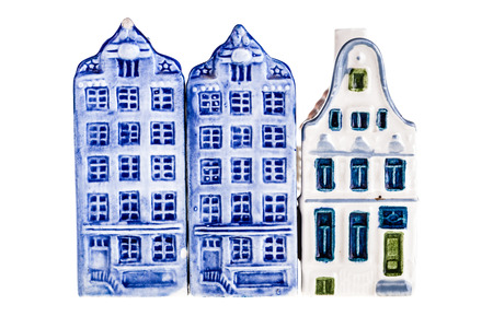 dutch canal house: porcelain dutch canal house model isolated over a white background