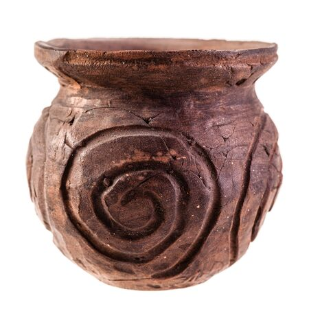 olla: an ancient apulian Olla, a roman style vase, isolated over a white background
