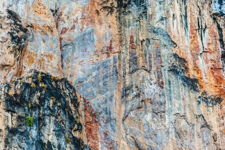 stratified: majestic rock formation in phi phi island, in the andaman sea, Thailand Stock Photo