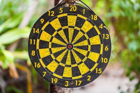 bullseye: an old dart bullseye hanged on a tree in a tropical jungle Stock Photo