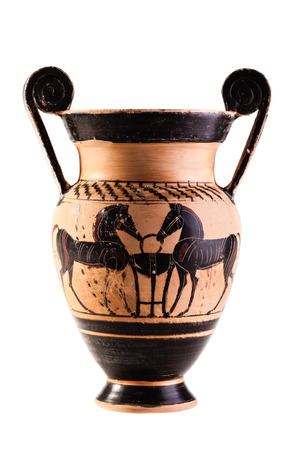 Apulian black figure pottery ancient volute krater isolated over a white background photo