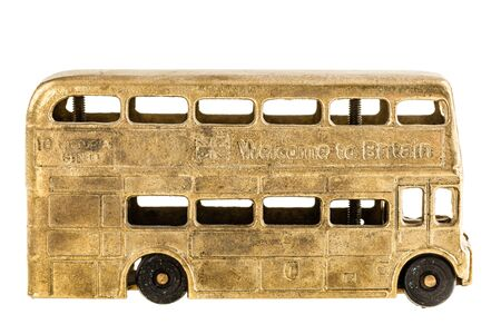 colden: a vintage retro double decked british bus toy isolated over a white background
