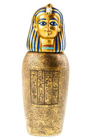 Une reproduction de vase canope or isolé sur un fond blanc Banque d'images - 38101640
