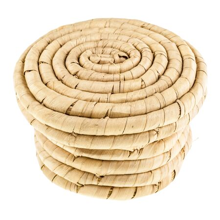 indian artifacts: an indian basket isolated over a white background