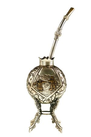 mate infusion: Calabash and silver bombilla used to drink yerba mate infusion isolated over white Stock Photo