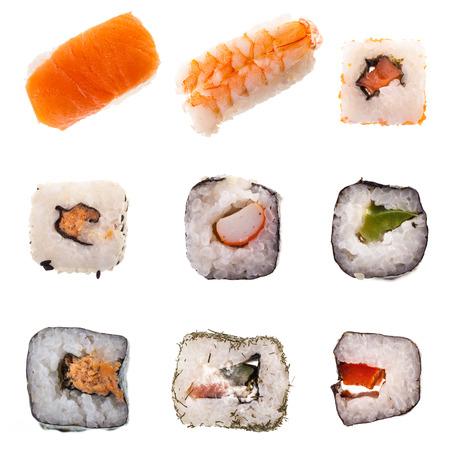 japanese food: una colecci�n de diferentes tipos de sushi maki y nigiri incluyendo aislados sobre fondo blanco para el men� Foto de archivo