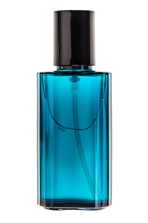 perfume bottle: a luxurious perfume bottle isolated over a white background