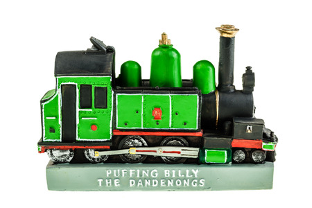 puffing: a model of the puffing billy train isolated over a white background