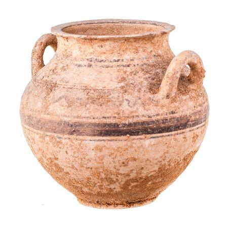 daunia: Daunian subgeometric duble-handle pot isolated over a white background