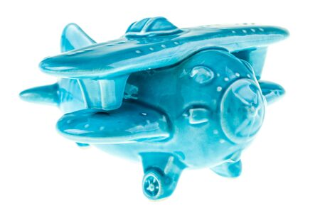 bonbonniere: a blue porcelain cute airplane model isolated over a white background Stock Photo