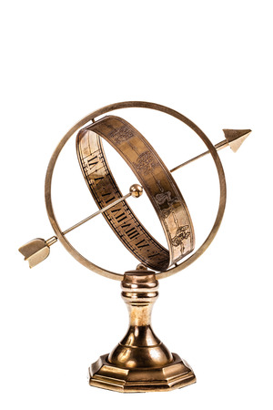 consist: Armillary or ring sundials consist of a system of rings that represent the major circles of the terrestrial and celestial spheres. Isolated over a white background Stock Photo