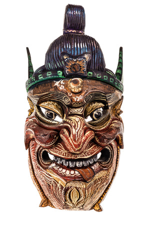 imp: a japanese traditional mask isolated over a white background