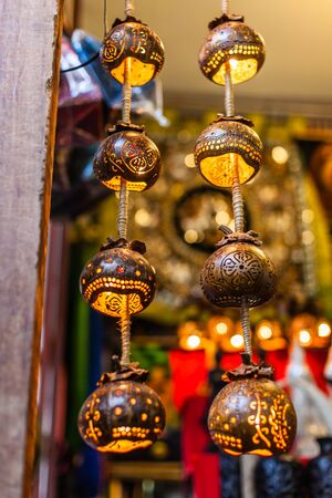 decorative lights on sale in a thai market photo