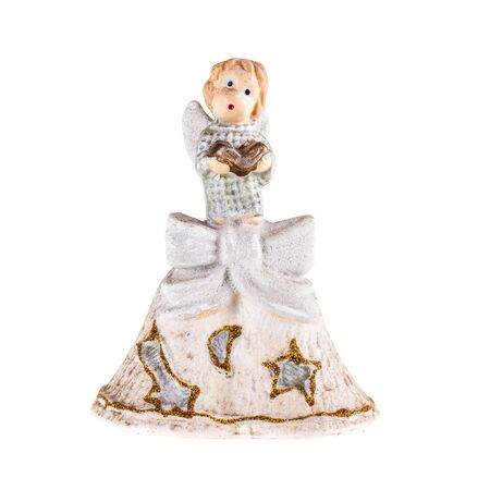 cherub: a christmas cherub figurine isolated over a white background