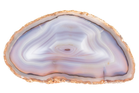 Thin slice of agate geodes with concentric layers isolated over a white background Foto de archivo