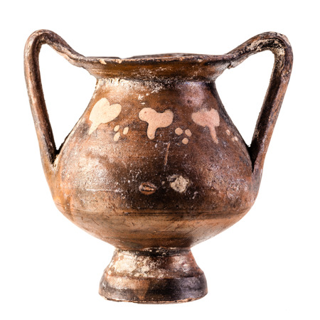 daunia: Apulian pottery ancient Daunian kantharos from Venosa isolated over a white background