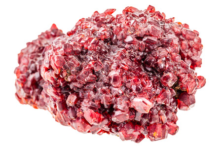 spinel: a bright red ruby crystal ore isolated over a white background