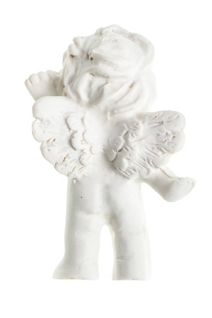 engel: a small cute ceramic angel statuette isolated over a white background