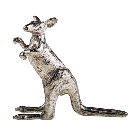 downunder: a silver australian kangaroo figurine isolated over a white background